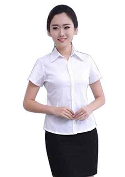 夏季女士纯白色短袖衬衫