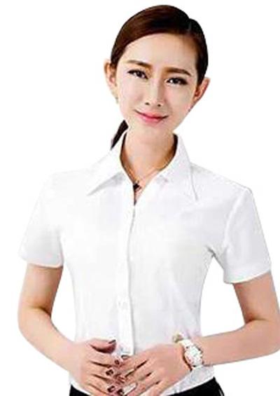 女士白色短袖衬衫