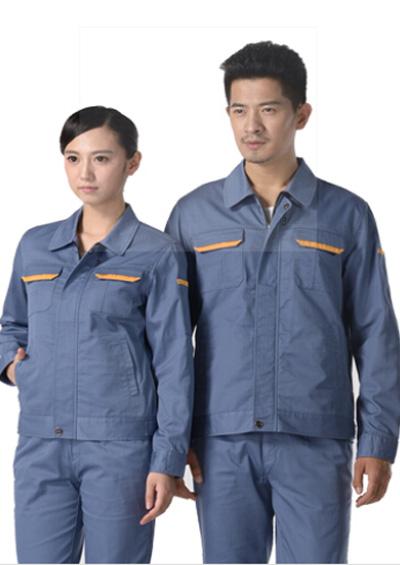 灰蓝色纱卡涤棉长袖工作服