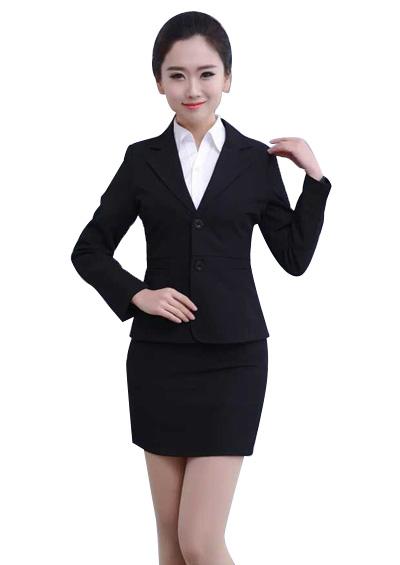 女士西服套装修身 黑色