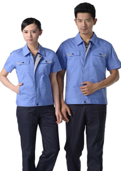 涤棉天蓝超薄短袖工作服