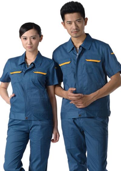 深青色短袖工作服