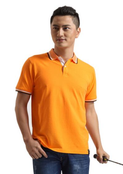 橘黄色纯珠地棉T恤工作服