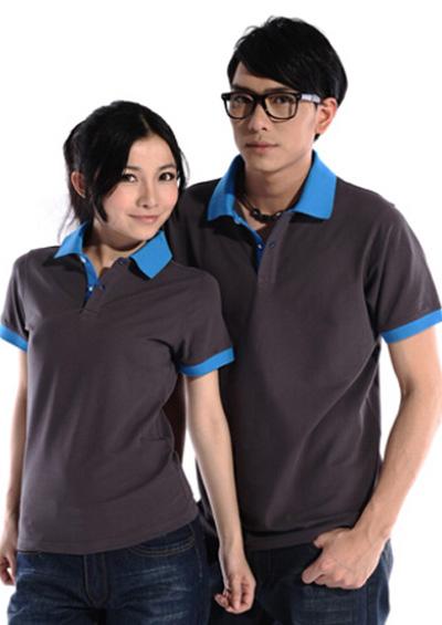 铁灰素色纯棉T恤工作服