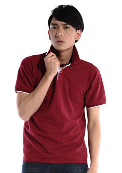 枣红色塞尔纯棉T恤工作服