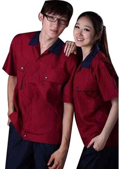 夏季短袖工作服套装男女