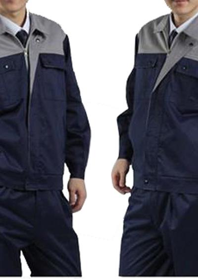 长袖工作服套装上灰下深蓝